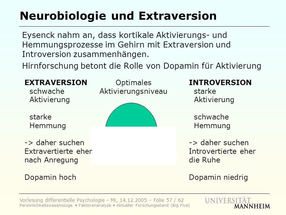 Vorlesung differentielle Psychologie – Mi, 14.12.2005 – Folie 57 / 62 Persönlichkeitswesenszüge Faktorenanalyse Aktueller Forschungsstand (Big Five) N