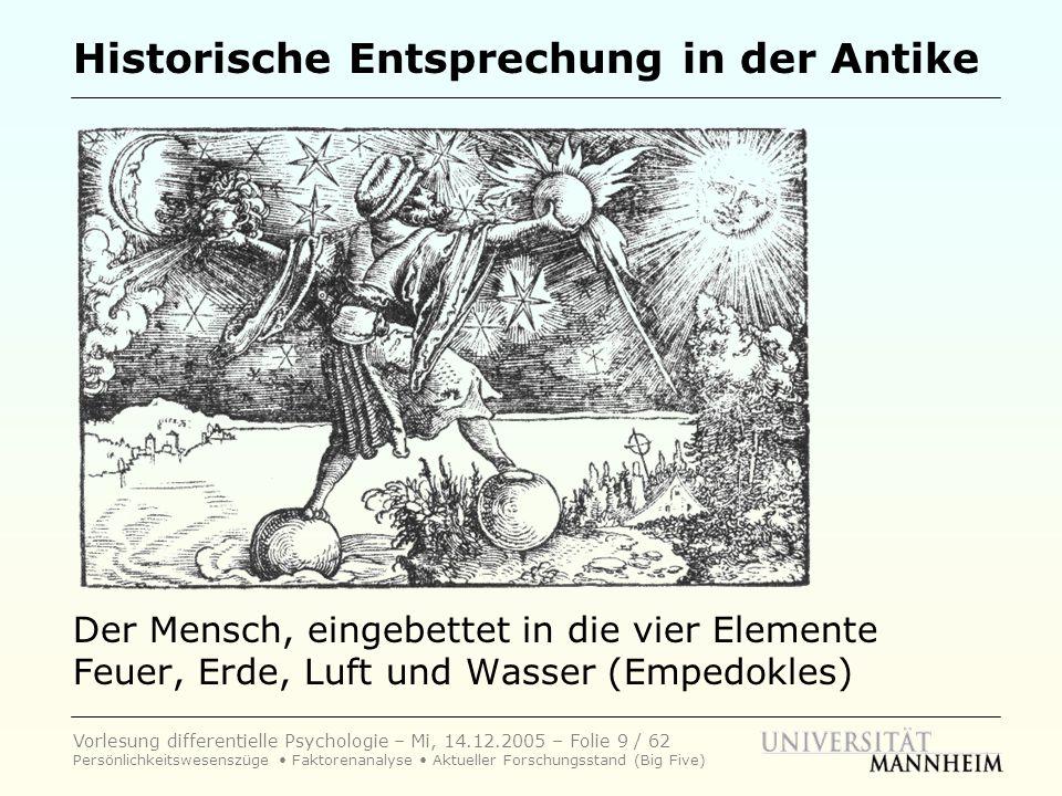 Vorlesung differentielle Psychologie – Mi, 14.12.2005 – Folie 9 / 62 Persönlichkeitswesenszüge Faktorenanalyse Aktueller Forschungsstand (Big Five) Hi