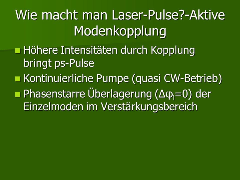 Wie macht man Laser-Pulse?-Aktive Modenkopplung Höhere Intensitäten durch Kopplung bringt ps-Pulse Höhere Intensitäten durch Kopplung bringt ps-Pulse