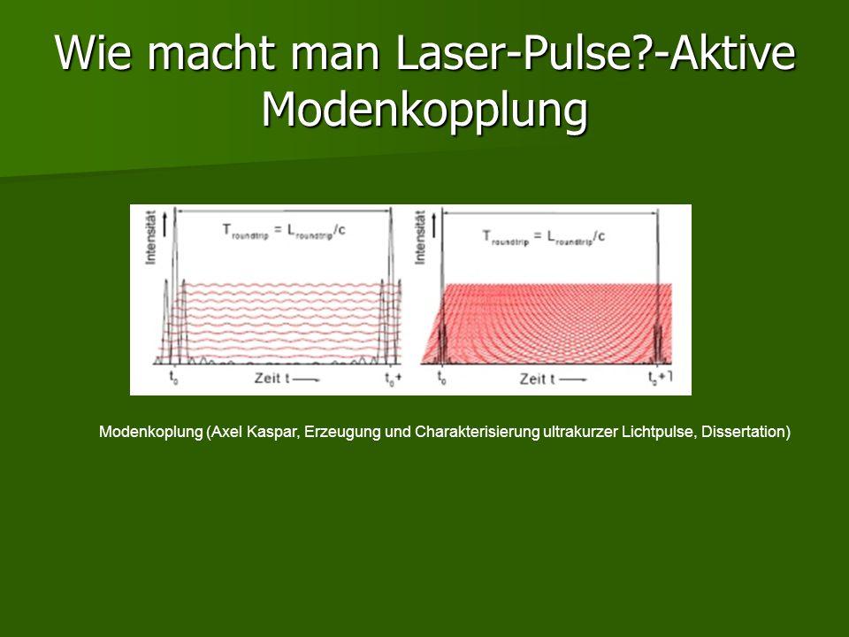 Wie macht man Laser-Pulse?-Aktive Modenkopplung Modenkoplung (Axel Kaspar, Erzeugung und Charakterisierung ultrakurzer Lichtpulse, Dissertation)
