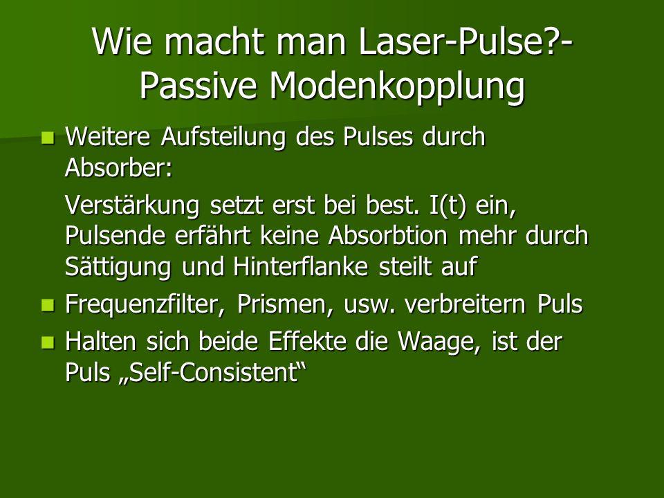 Wie macht man Laser-Pulse?- Passive Modenkopplung Weitere Aufsteilung des Pulses durch Absorber: Weitere Aufsteilung des Pulses durch Absorber: Verstä