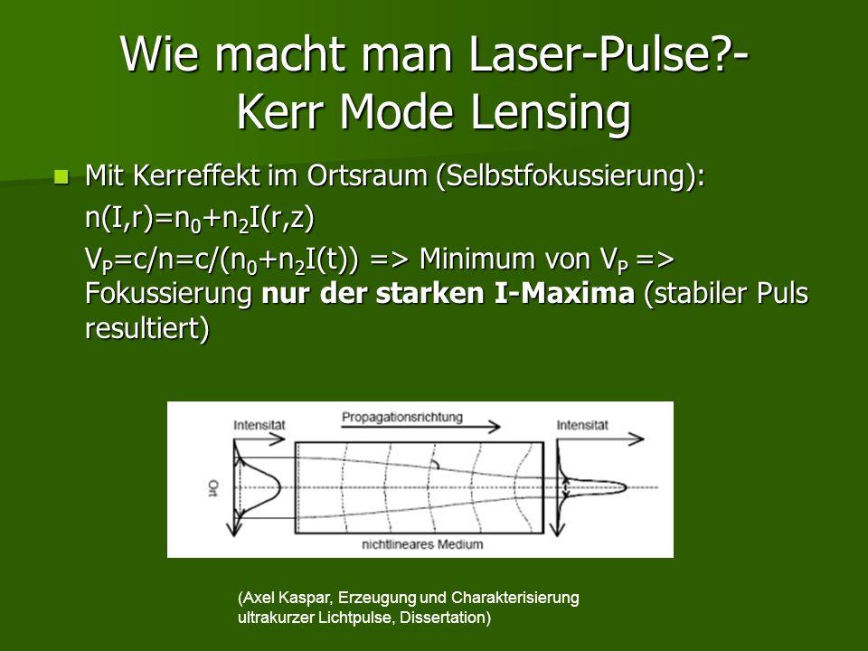 Wie macht man Laser-Pulse?- Kerr Mode Lensing Mit Kerreffekt im Ortsraum (Selbstfokussierung): Mit Kerreffekt im Ortsraum (Selbstfokussierung): n(I,r)