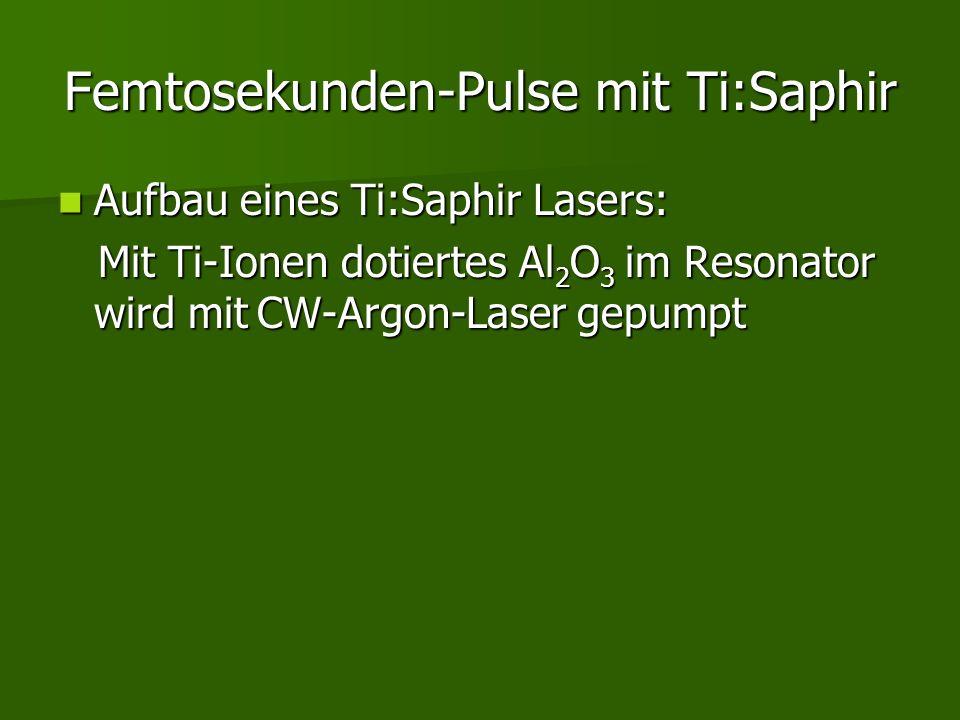 Femtosekunden-Pulse mit Ti:Saphir Aufbau eines Ti:Saphir Lasers: Aufbau eines Ti:Saphir Lasers: Mit Ti-Ionen dotiertes Al 2 O 3 im Resonator wird mit
