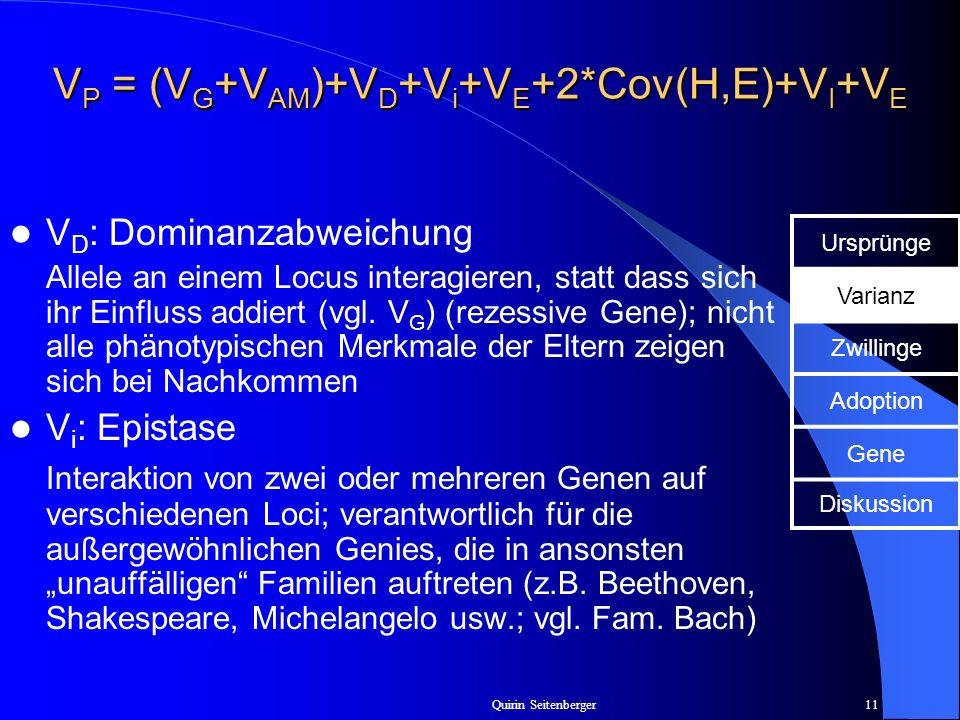 Quirin Seitenberger11 V P = (V G +V AM )+V D +V i +V E +2*Cov(H,E)+V I +V E V D : Dominanzabweichung Allele an einem Locus interagieren, statt dass si