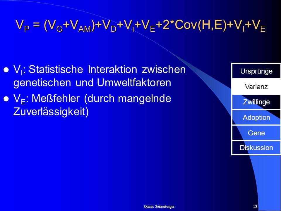 Quirin Seitenberger13 V P = (V G +V AM )+V D +V i +V E +2*Cov(H,E)+V I +V E V I : Statistische Interaktion zwischen genetischen und Umweltfaktoren V E