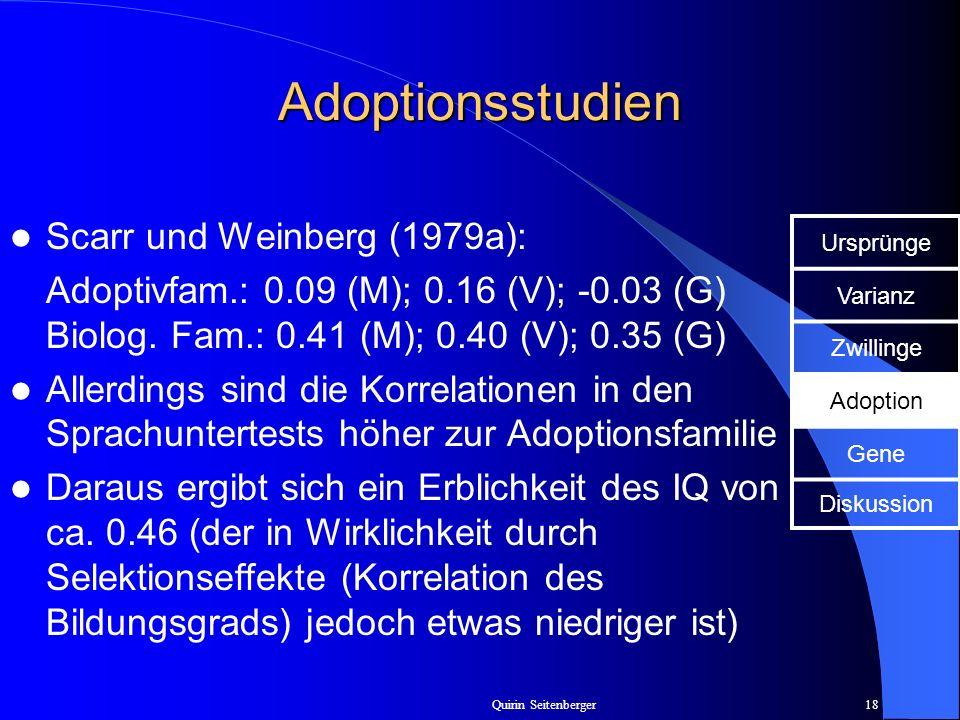 Quirin Seitenberger18 Adoptionsstudien Scarr und Weinberg (1979a): Adoptivfam.: 0.09 (M); 0.16 (V); -0.03 (G) Biolog. Fam.: 0.41 (M); 0.40 (V); 0.35 (