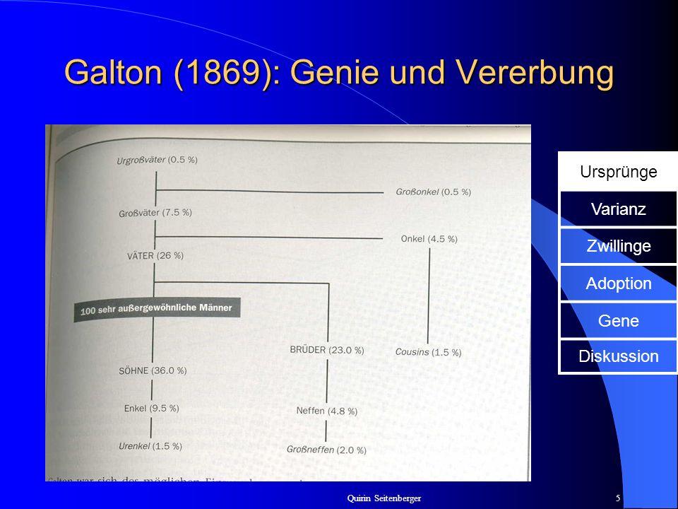 Quirin Seitenberger5 Galton (1869): Genie und Vererbung Ursprünge Varianz Zwillinge Adoption Gene Diskussion