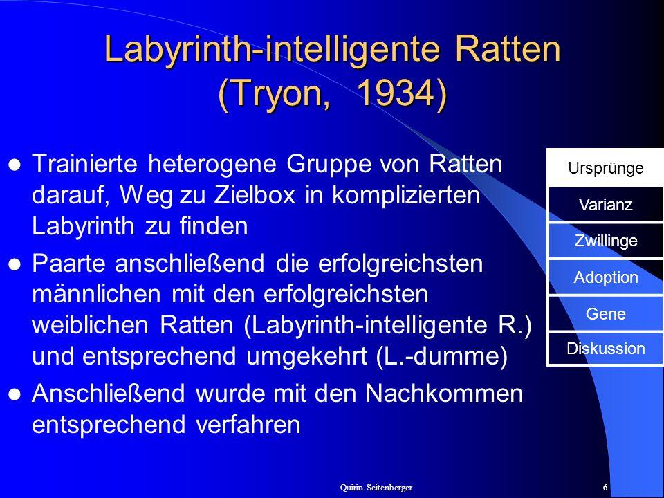 Quirin Seitenberger6 Labyrinth-intelligente Ratten (Tryon, 1934) Trainierte heterogene Gruppe von Ratten darauf, Weg zu Zielbox in komplizierten Labyr