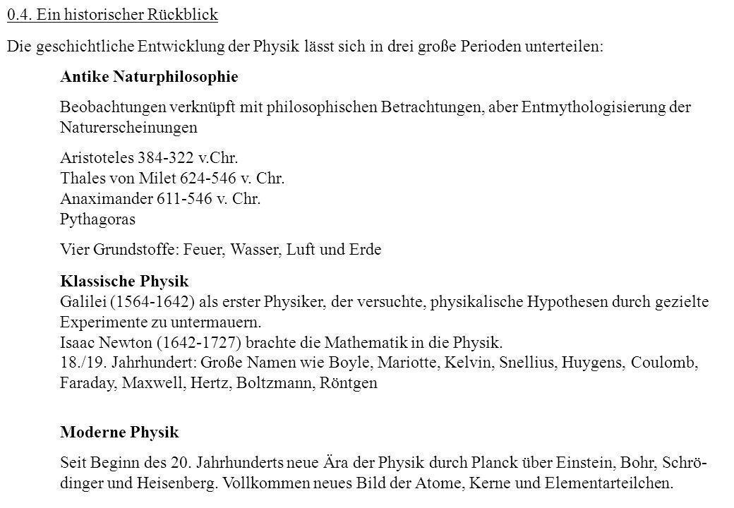 0.4. Ein historischer Rückblick Die geschichtliche Entwicklung der Physik lässt sich in drei große Perioden unterteilen: Antike Naturphilosophie Beoba