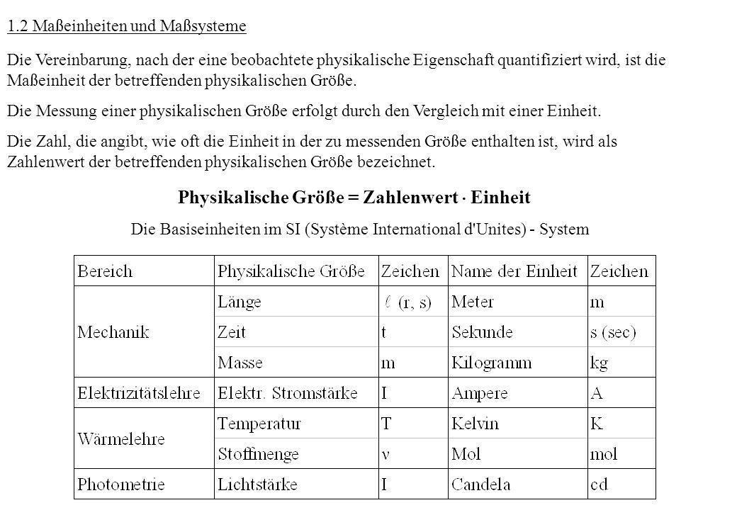 1.2 Maßeinheiten und Maßsysteme Die Vereinbarung, nach der eine beobachtete physikalische Eigenschaft quantifiziert wird, ist die Maßeinheit der betre