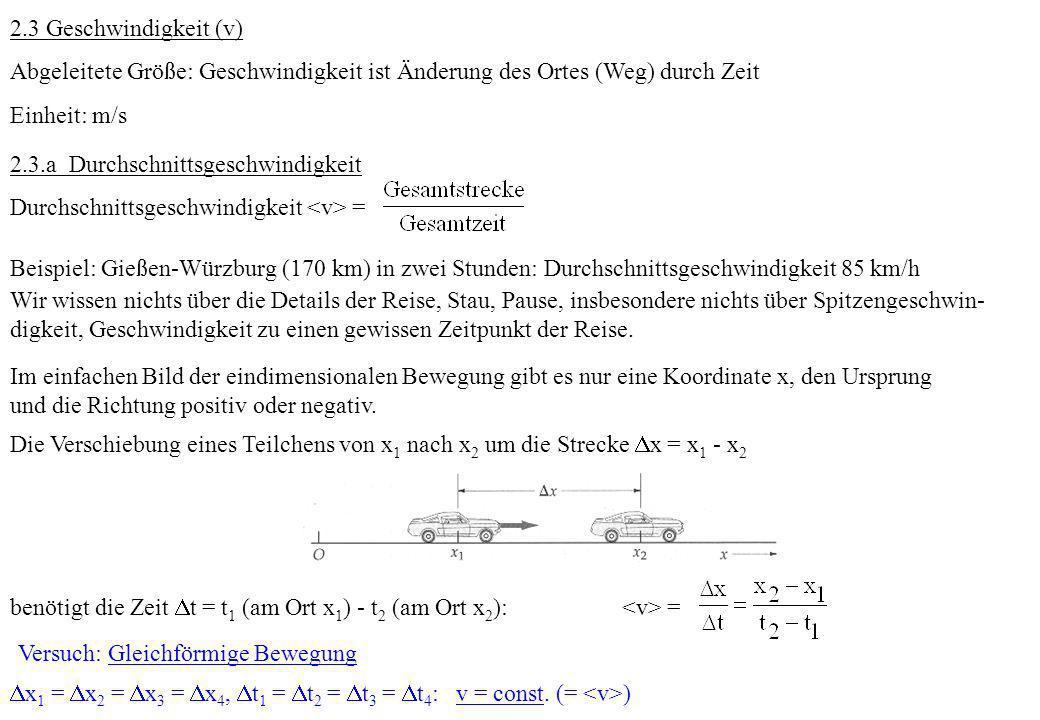 2.3 Geschwindigkeit (v) Abgeleitete Größe: Geschwindigkeit ist Änderung des Ortes (Weg) durch Zeit Einheit: m/s 2.3.a Durchschnittsgeschwindigkeit Dur