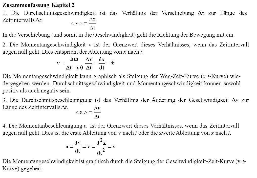 Zusammenfassung Kapitel 2 1. Die Durchschnittsgeschwindigkeit ist das Verhältnis der Verschiebung x zur Länge des Zeitintervalls t: In die Verschiebun