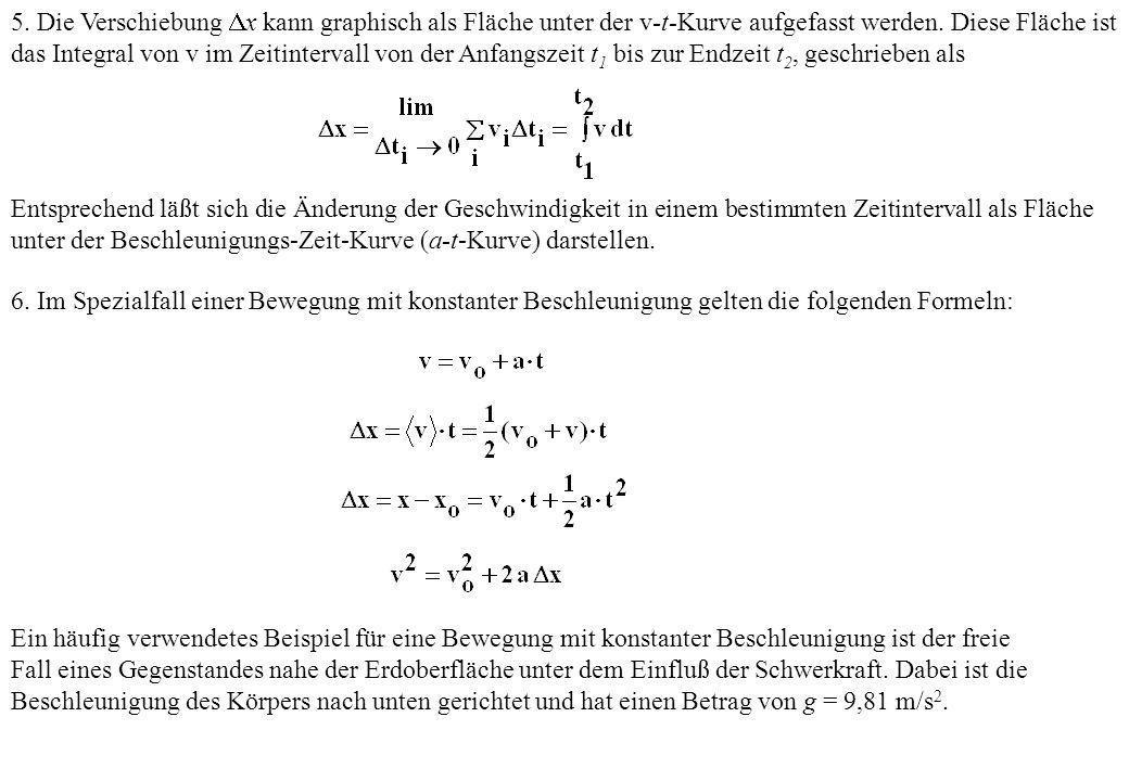 5. Die Verschiebung x kann graphisch als Fläche unter der v-t-Kurve aufgefasst werden. Diese Fläche ist das Integral von v im Zeitintervall von der An