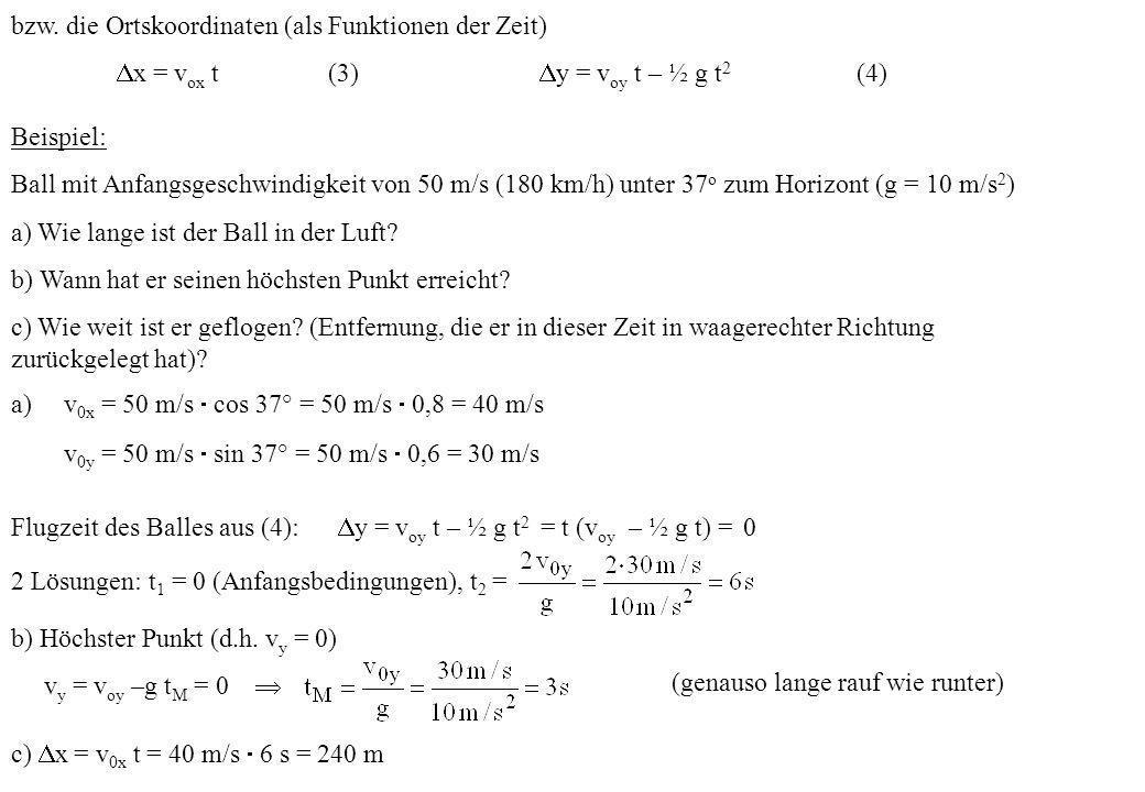 bzw. die Ortskoordinaten (als Funktionen der Zeit) x = v ox t (3) y = v oy t – ½ g t 2 (4) Beispiel: Ball mit Anfangsgeschwindigkeit von 50 m/s (180 k