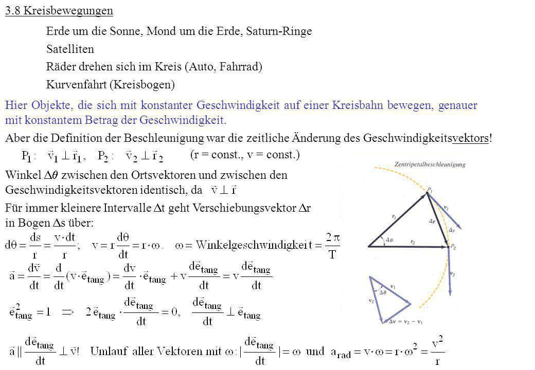 3.8 Kreisbewegungen Erde um die Sonne, Mond um die Erde, Saturn-Ringe Satelliten Räder drehen sich im Kreis (Auto, Fahrrad) Kurvenfahrt (Kreisbogen) H