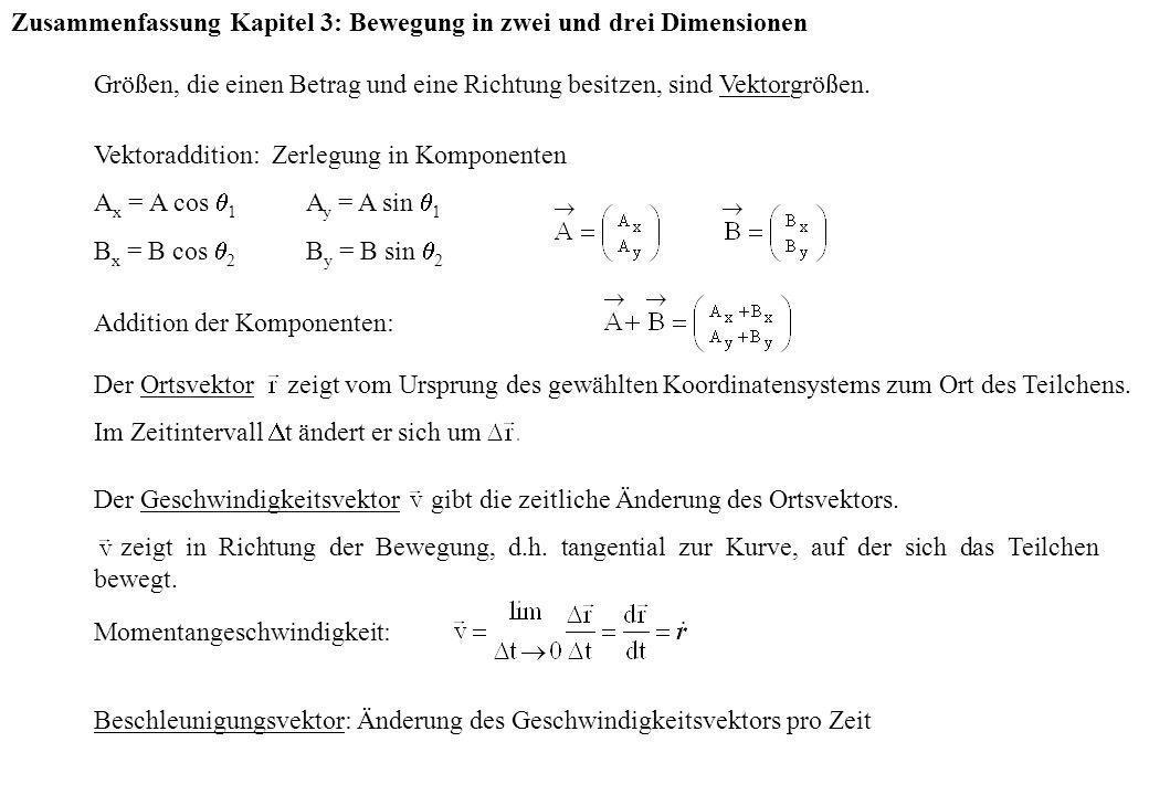 Zusammenfassung Kapitel 3: Bewegung in zwei und drei Dimensionen Größen, die einen Betrag und eine Richtung besitzen, sind Vektorgrößen. Vektoradditio