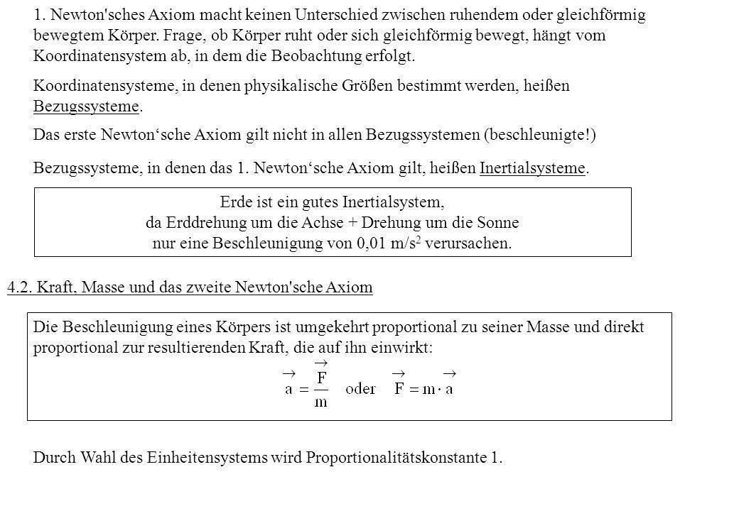 1. Newton'sches Axiom macht keinen Unterschied zwischen ruhendem oder gleichförmig bewegtem Körper. Frage, ob Körper ruht oder sich gleichförmig beweg