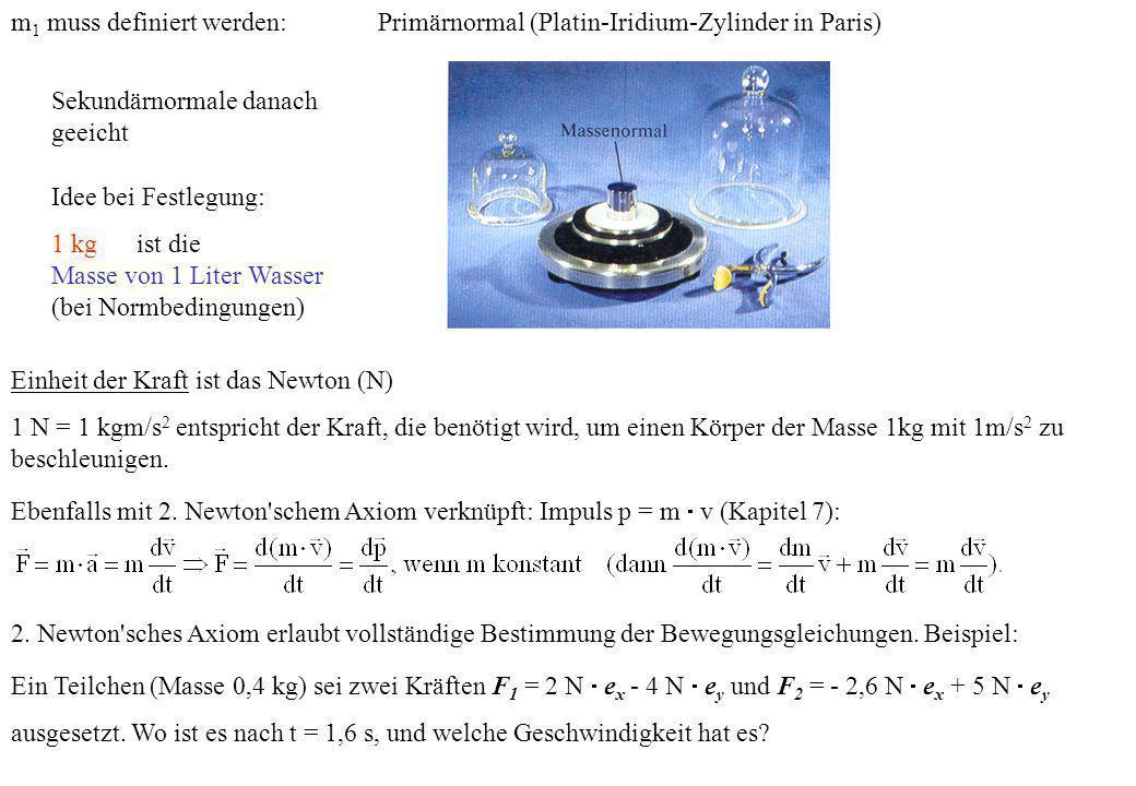 m 1 muss definiert werden:Primärnormal (Platin-Iridium-Zylinder in Paris) Idee bei Festlegung: 1 kg ist die Masse von 1 Liter Wasser (bei Normbedingun