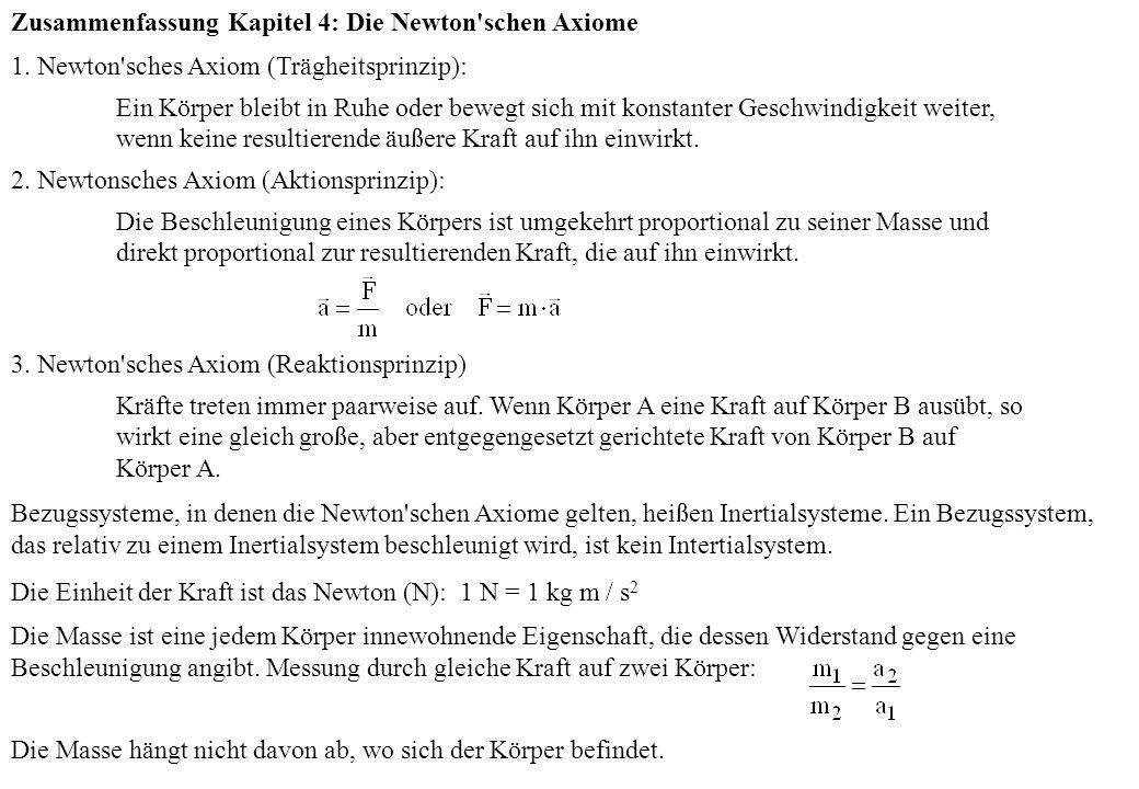 Zusammenfassung Kapitel 4: Die Newton'schen Axiome 1. Newton'sches Axiom (Trägheitsprinzip): Ein Körper bleibt in Ruhe oder bewegt sich mit konstanter