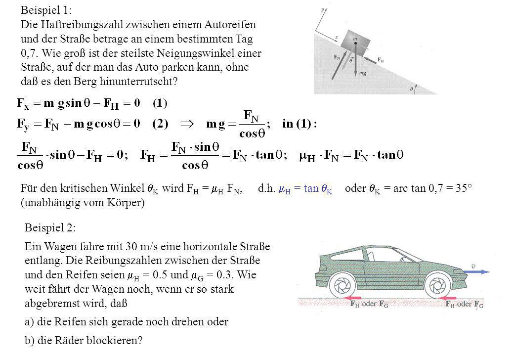 Beispiel 1: Die Haftreibungszahl zwischen einem Autoreifen und der Straße betrage an einem bestimmten Tag 0,7. Wie groß ist der steilste Neigungswinke