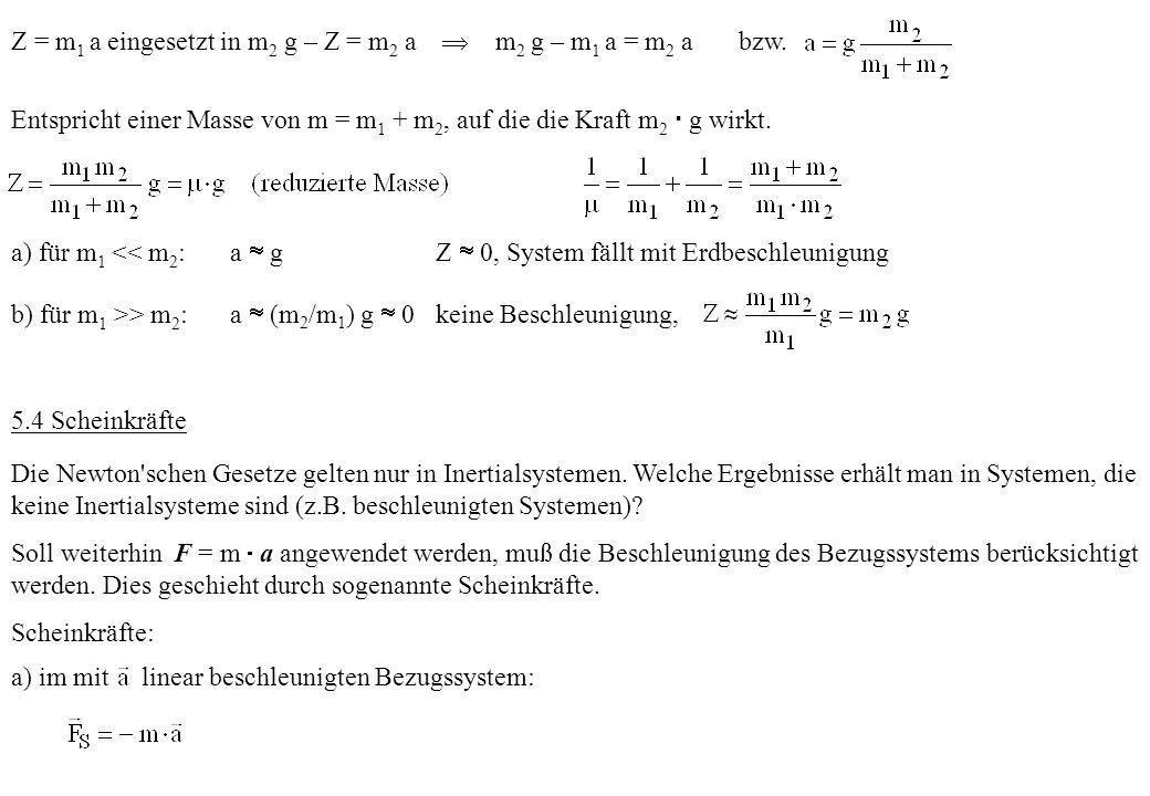 Z = m 1 a eingesetzt in m 2 g – Z = m 2 a m 2 g – m 1 a = m 2 a bzw. Entspricht einer Masse von m = m 1 + m 2, auf die die Kraft m 2 g wirkt. a) für m