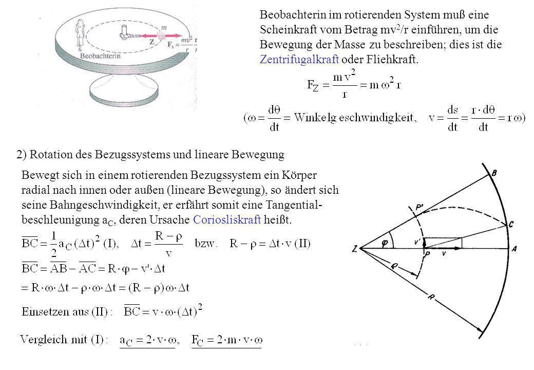 Beobachterin im rotierenden System muß eine Scheinkraft vom Betrag mv 2 /r einführen, um die Bewegung der Masse zu beschreiben; dies ist die Zentrifug