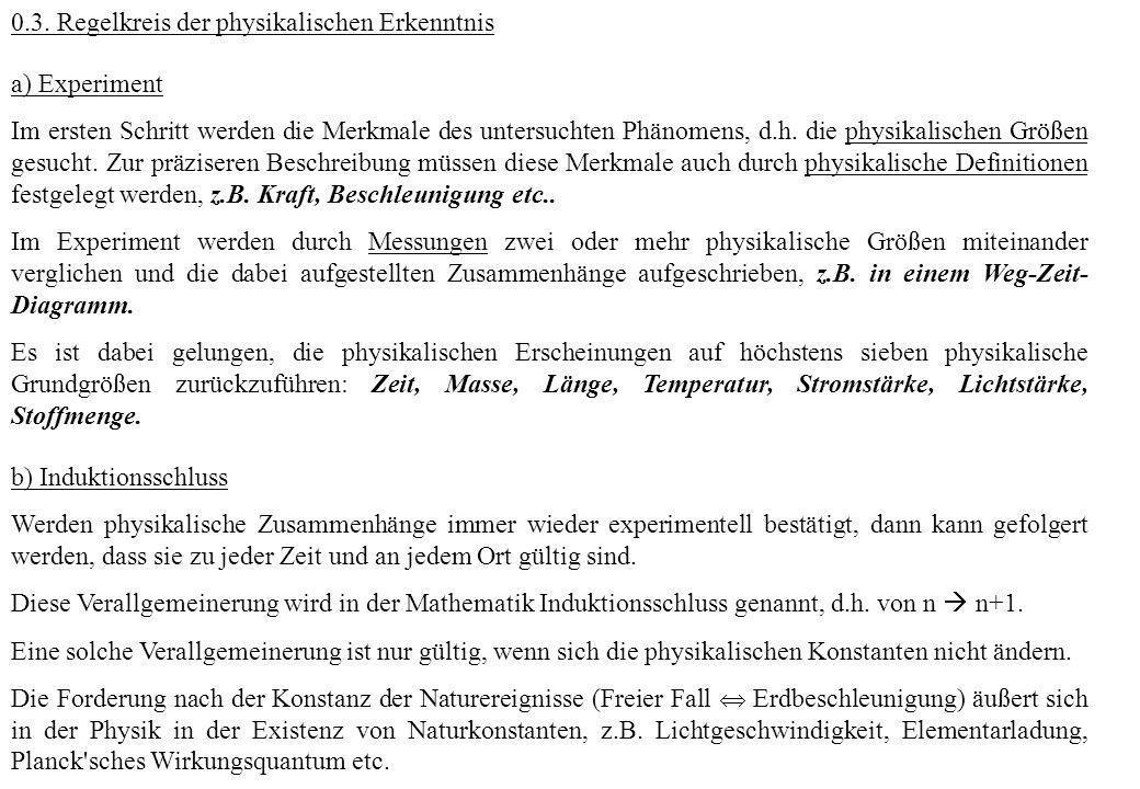 0.3. Regelkreis der physikalischen Erkenntnis a) Experiment Im ersten Schritt werden die Merkmale des untersuchten Phänomens, d.h. die physikalischen