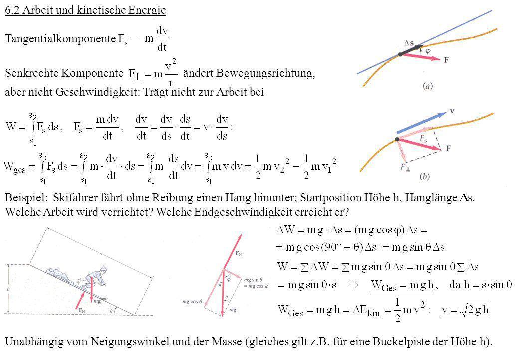 6.2 Arbeit und kinetische Energie Tangentialkomponente F s = Senkrechte Komponente ändert Bewegungsrichtung, aber nicht Geschwindigkeit: Trägt nicht z
