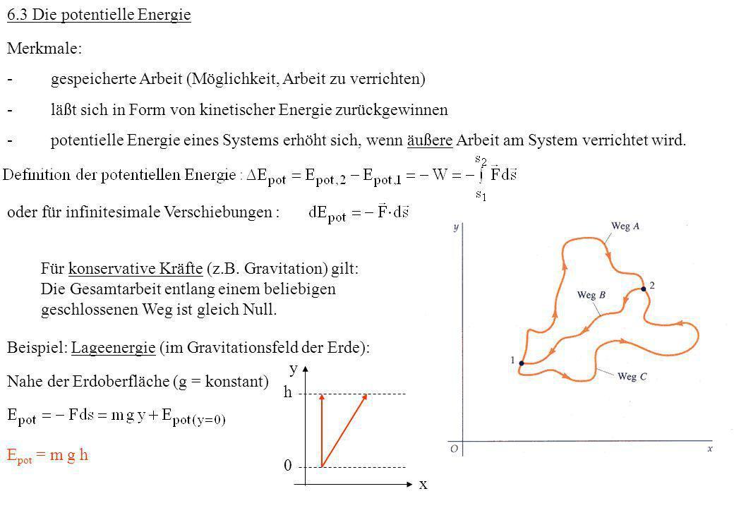 6.3 Die potentielle Energie Merkmale: - gespeicherte Arbeit (Möglichkeit, Arbeit zu verrichten) - läßt sich in Form von kinetischer Energie zurückgewi