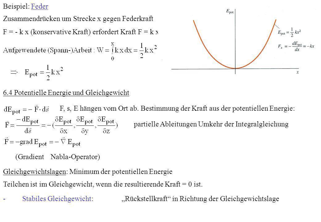 Beispiel: Feder Zusammendrücken um Strecke x gegen Federkraft F = - k x (konservative Kraft) erfordert Kraft F = k x. 6.4 Potentielle Energie und Glei