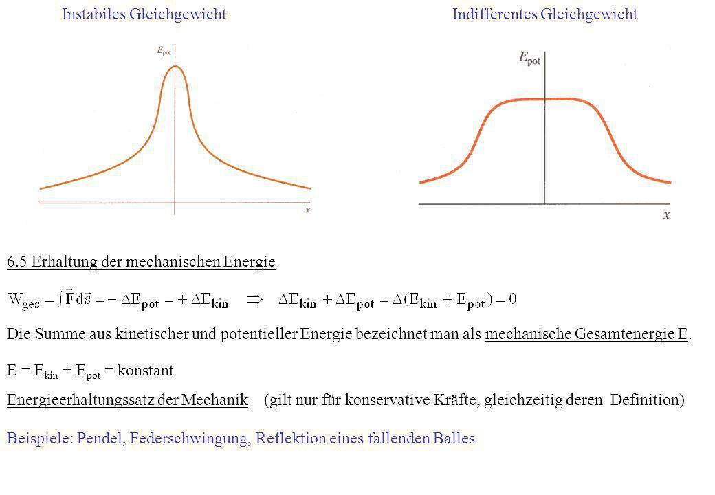 Instabiles GleichgewichtIndifferentes Gleichgewicht 6.5 Erhaltung der mechanischen Energie Die Summe aus kinetischer und potentieller Energie bezeichn