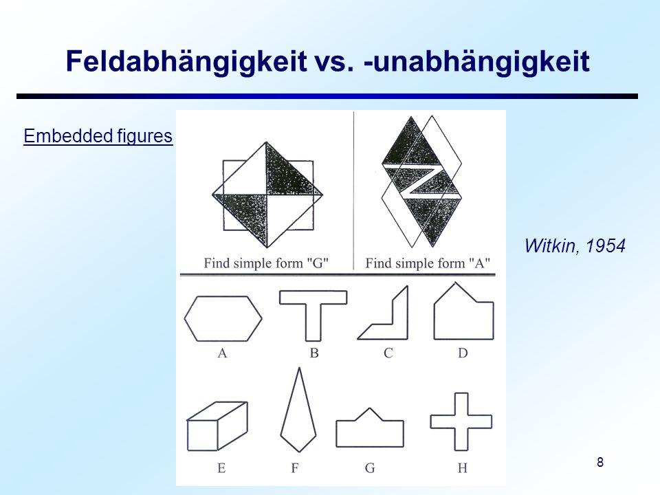 Vorlesung: Differentielle Psychologie 9 Feldabhängigkeit vs.