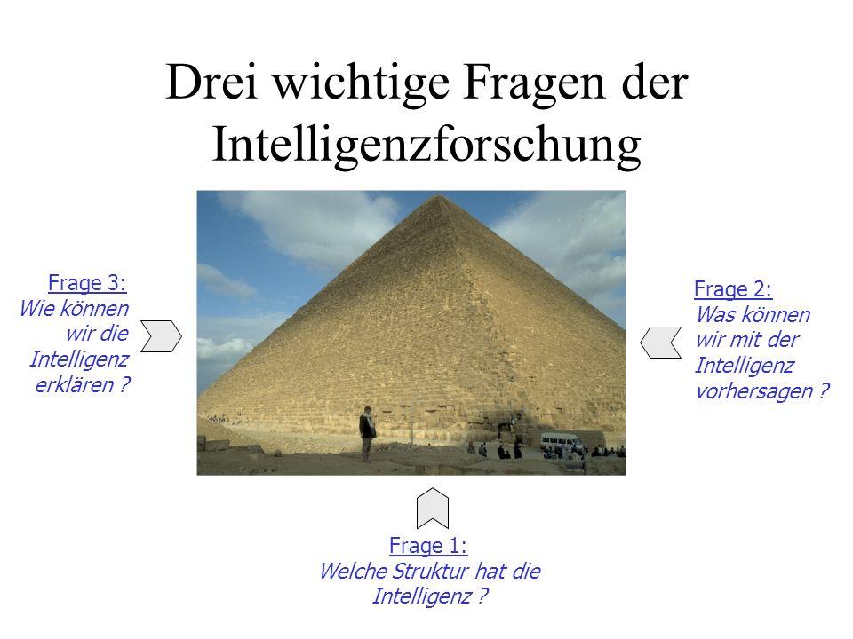 Drei wichtige Fragen der Intelligenzforschung Frage 3: Wie können wir die Intelligenz erklären ? Frage 2: Was können wir mit der Intelligenz vorhersag