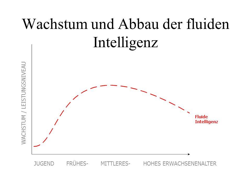 Wachstum und Abbau der fluiden Intelligenz Fluide Intelligenz WACHSTUM / LEISTUNGSNIVEAU JUGEND FRÜHES- MITTLERES- HOHES ERWACHSENENALTER