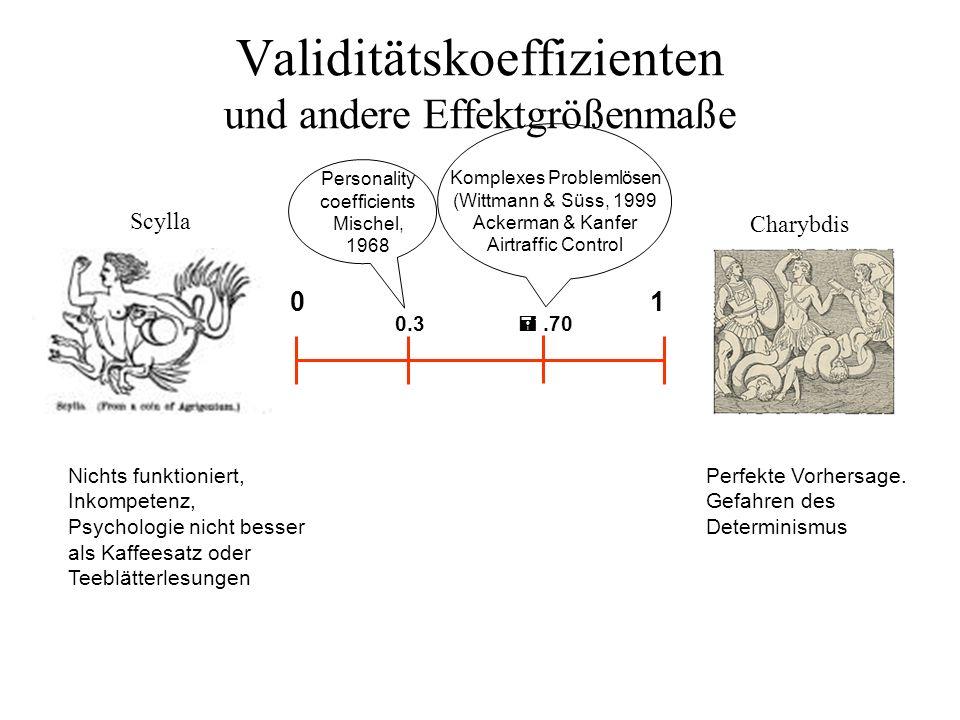 Validitätskoeffizienten und andere Effektgrößenmaße Scylla Charybdis Nichts funktioniert, Inkompetenz, Psychologie nicht besser als Kaffeesatz oder Te