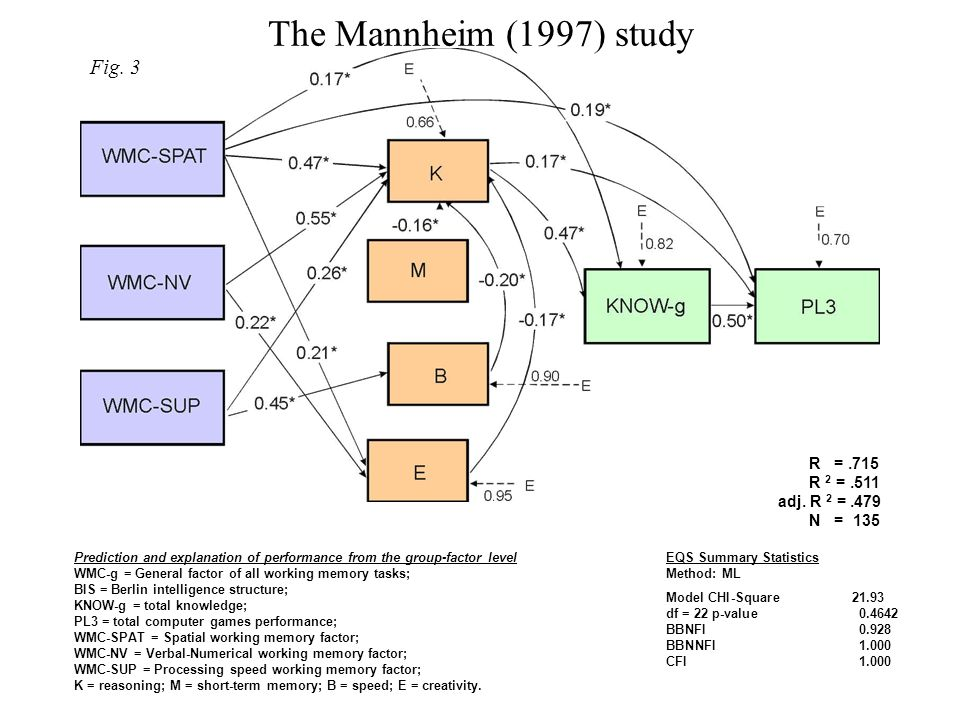 The Mannheim (1997) study EQS Summary Statistics Method: ML Model CHI-Square21.93 df = 22 p-value0.4642 BBNFI0.928 BBNNFI1.000 CFI1.000 R =.715 R 2 =.511 adj.