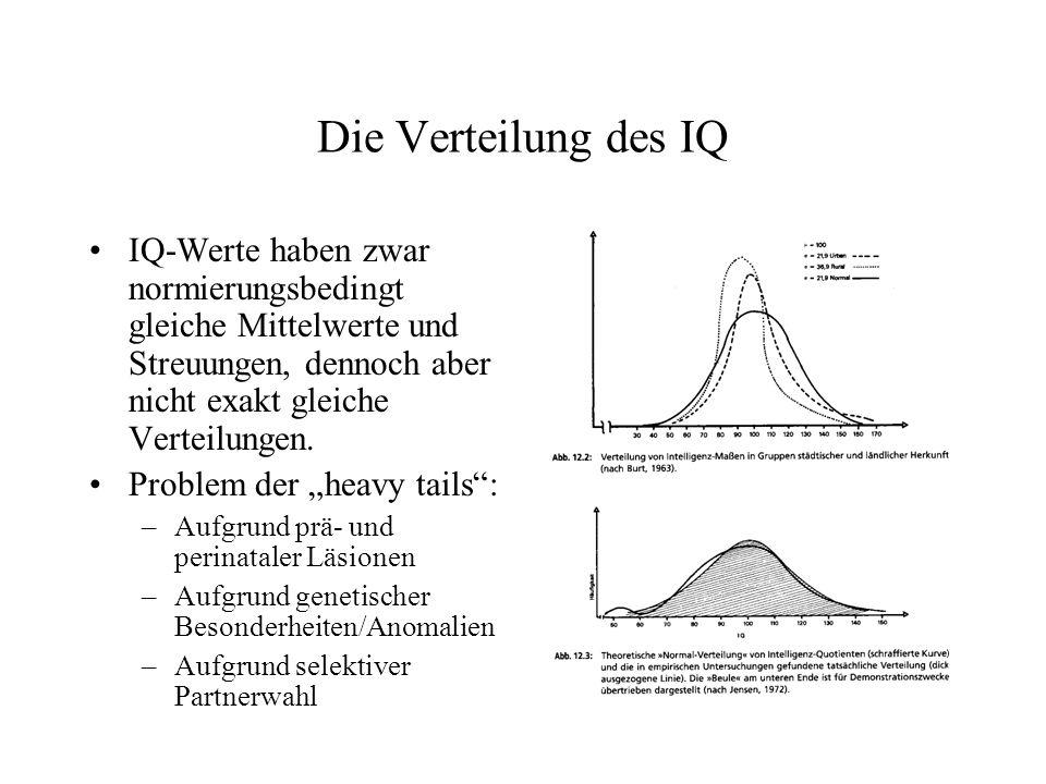 Die Verteilung des IQ IQ-Werte haben zwar normierungsbedingt gleiche Mittelwerte und Streuungen, dennoch aber nicht exakt gleiche Verteilungen. Proble