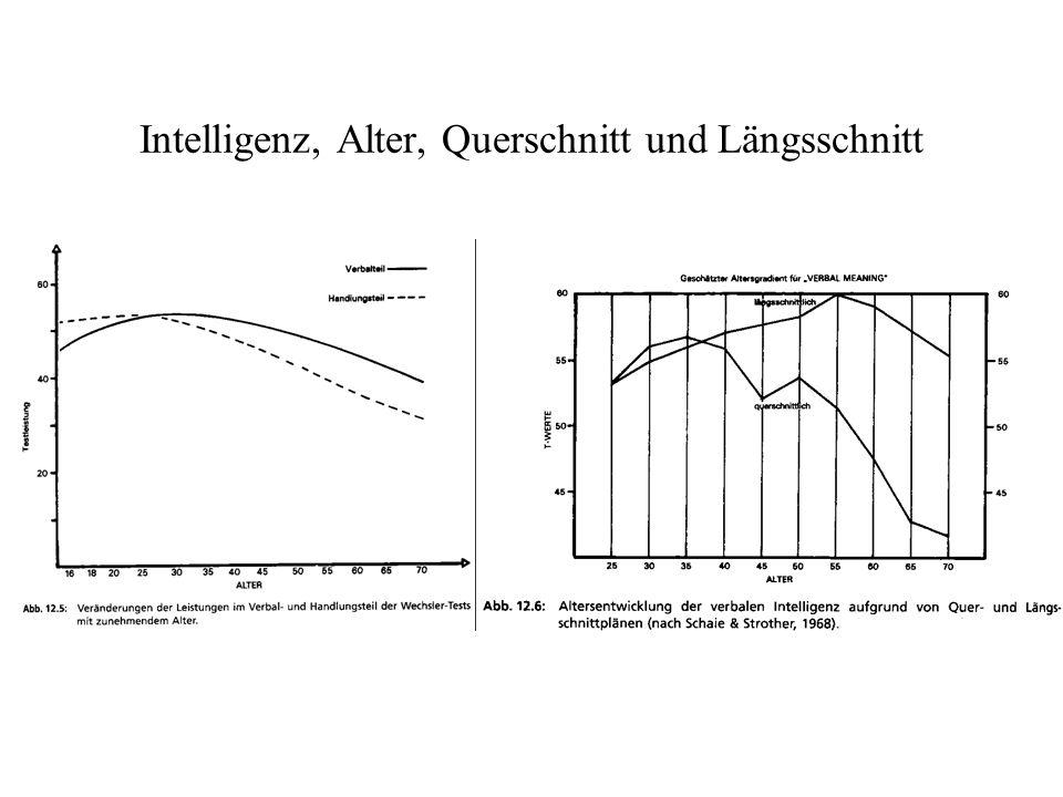 Intelligenz, Alter, Querschnitt und Längsschnitt