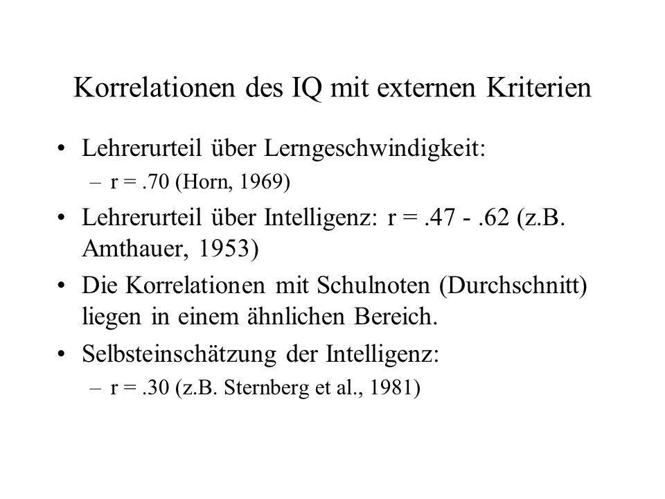 Korrelationen des IQ mit externen Kriterien Lehrerurteil über Lerngeschwindigkeit: –r =.70 (Horn, 1969) Lehrerurteil über Intelligenz: r =.47 -.62 (z.