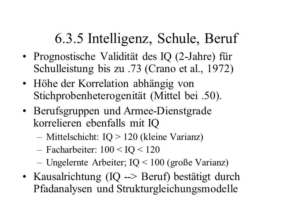 6.3.5 Intelligenz, Schule, Beruf Prognostische Validität des IQ (2-Jahre) für Schulleistung bis zu.73 (Crano et al., 1972) Höhe der Korrelation abhäng