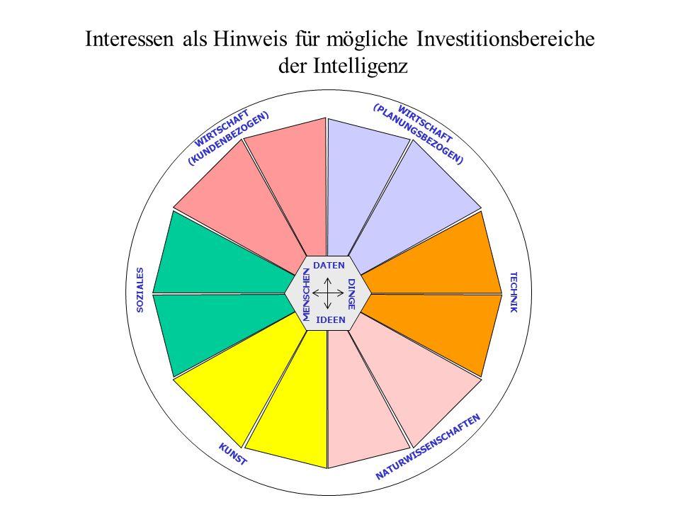 Interessen als Hinweis für mögliche Investitionsbereiche der Intelligenz DATEN MENSCHEN DINGE IDEEN WIRTSCHAFT (KUNDENBEZOGEN) WIRTSCHAFT (PLANUNGSBEZ