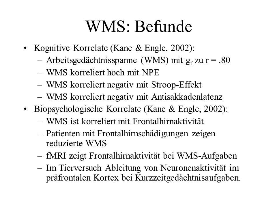WMS: Befunde Kognitive Korrelate (Kane & Engle, 2002): –Arbeitsgedächtnisspanne (WMS) mit g f zu r =.80 –WMS korreliert hoch mit NPE –WMS korreliert n