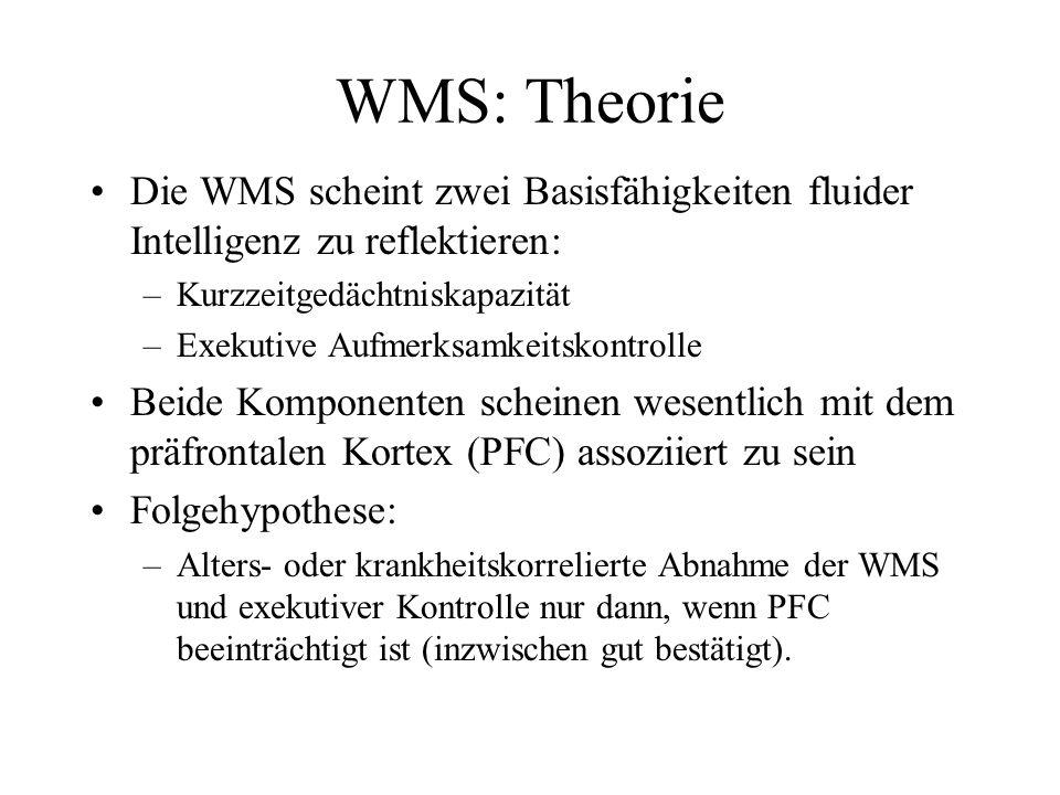 WMS: Theorie Die WMS scheint zwei Basisfähigkeiten fluider Intelligenz zu reflektieren: –Kurzzeitgedächtniskapazität –Exekutive Aufmerksamkeitskontrol