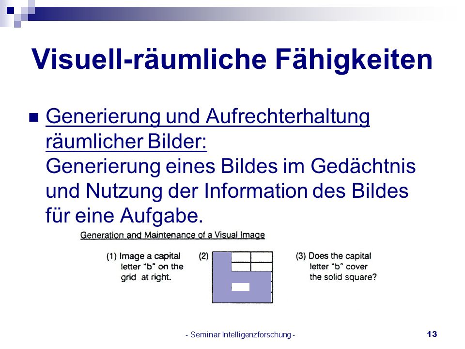 - Seminar Intelligenzforschung -13 Visuell-räumliche Fähigkeiten Generierung und Aufrechterhaltung räumlicher Bilder: Generierung eines Bildes im Gedä