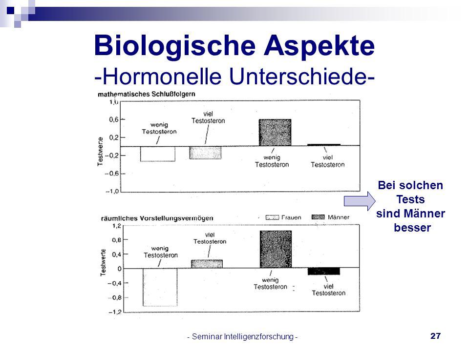 - Seminar Intelligenzforschung -27 Biologische Aspekte -Hormonelle Unterschiede- Bei solchen Tests sind Männer besser