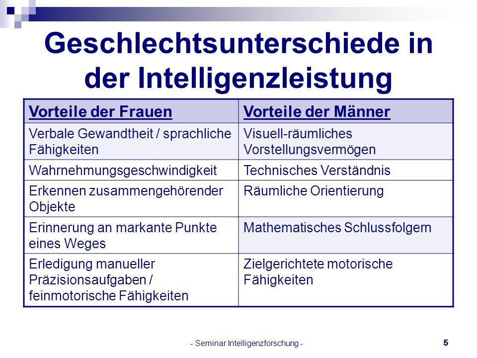 - Seminar Intelligenzforschung -5 Geschlechtsunterschiede in der Intelligenzleistung Vorteile der FrauenVorteile der Männer Verbale Gewandtheit / spra