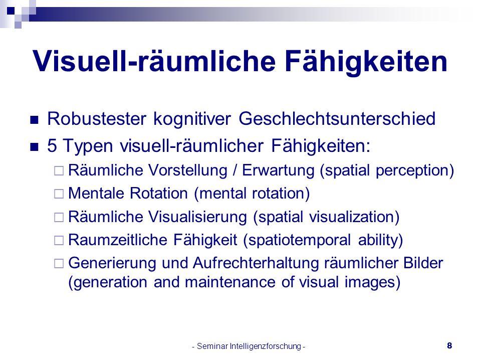 - Seminar Intelligenzforschung -8 Visuell-räumliche Fähigkeiten Robustester kognitiver Geschlechtsunterschied 5 Typen visuell-räumlicher Fähigkeiten: