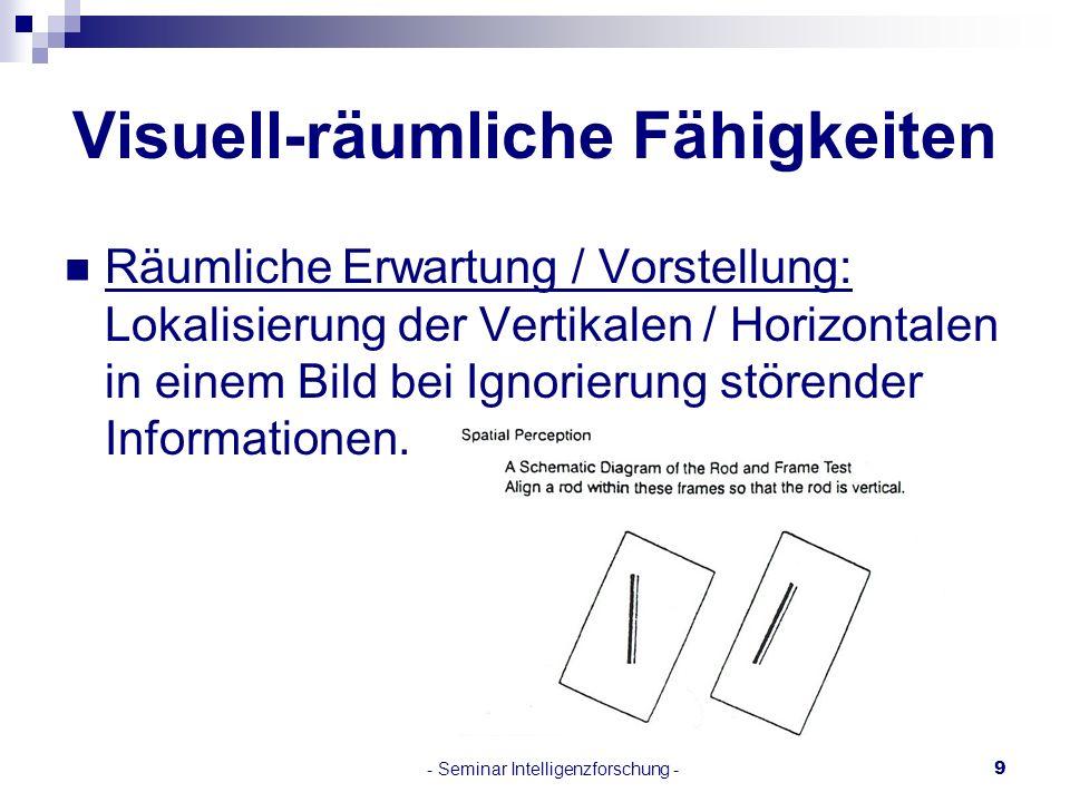 - Seminar Intelligenzforschung -9 Visuell-räumliche Fähigkeiten Räumliche Erwartung / Vorstellung: Lokalisierung der Vertikalen / Horizontalen in eine