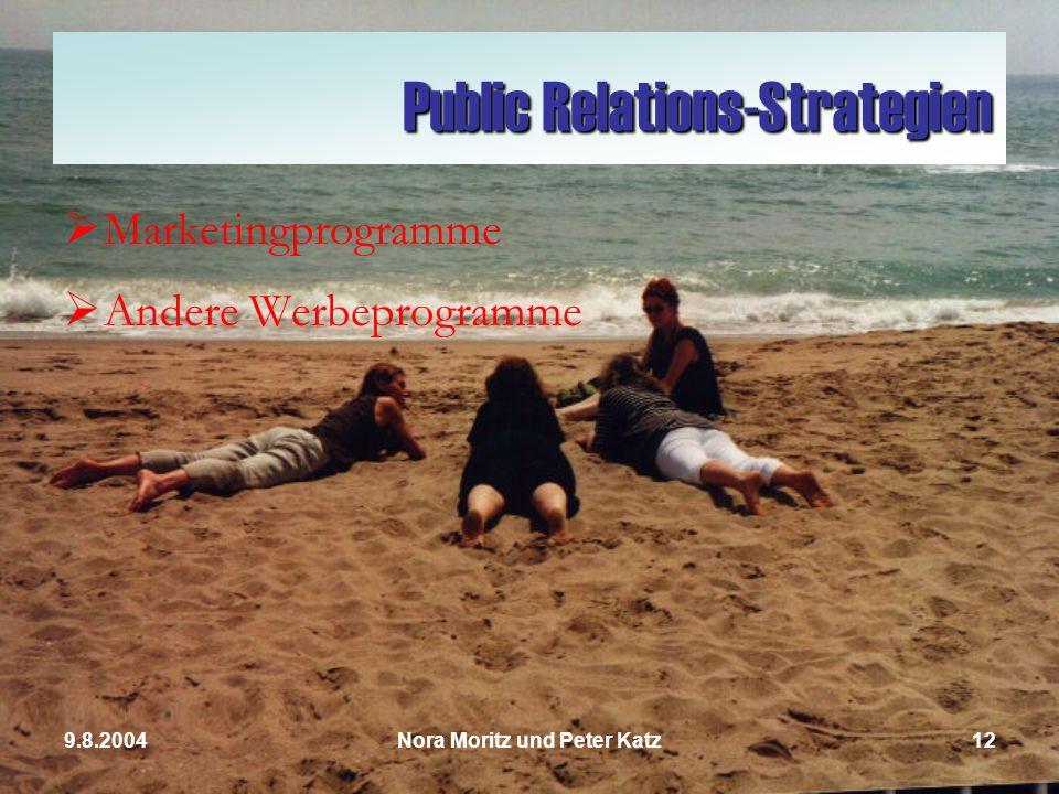 Nora Moritz und Peter Katz119.8.2004 Werbeausgaben 2000200120022003 Plakate 23.488,00 26.899,00 27.500,00 27.645,00 Anzeigen 144.356,00 150.067,00 180