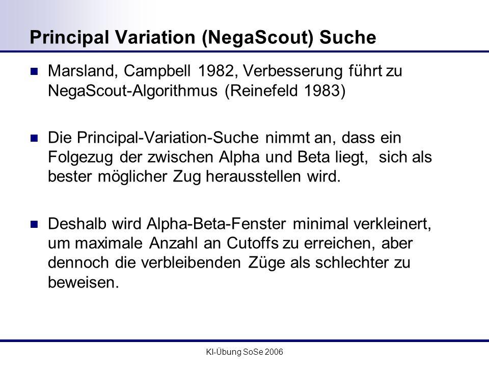 KI-Übung SoSe 2006 Principal Variation (NegaScout) Suche Marsland, Campbell 1982, Verbesserung führt zu NegaScout-Algorithmus (Reinefeld 1983) Die Pri